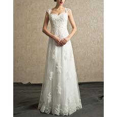 Delicate Beaded Appliques Full Length Tulle Wedding Dresses with Open Back