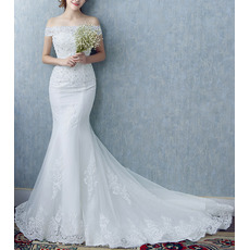 Romantic Mermaid Beading Appliques Off-the-shoulder Court Train Tulle Wedding Dresses