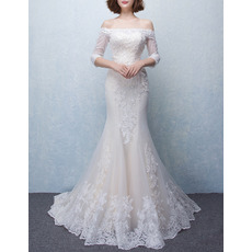 Custom Mermaid Off-the-shoulder Tulle Wedding Dresses with 3/4 Long Sleeves