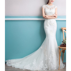 Elegance Mermaid Court Train Floral Appliques Tulle Wedding Dresses with Slight Cap Sleeves