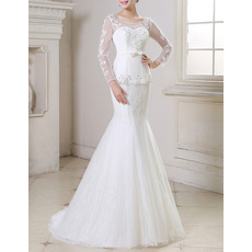 Sexy Mermaid Sweep Train Organza Wedding Dresses with Long Sleeves
