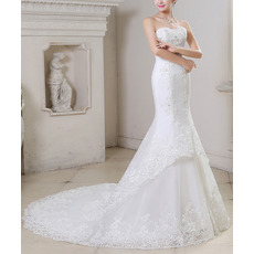 Sexy Mermaid Sweetheart Sleeveless Court Train Organza Wedding Dresses