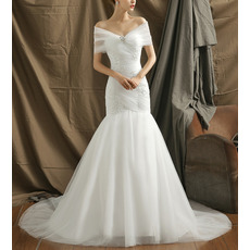 Elegance Beading Appliques Off-The-Shoulder Mermaid Tulle Wedding Dresses with Wraps