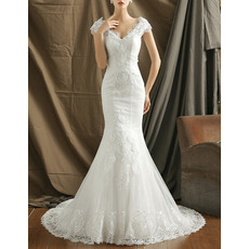 Stylish Beaded Appliques V-Neck Tulle Over Lace Wedding Dresses with Slight Cap Sleeves