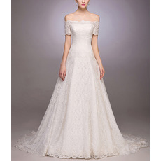Tailored Elegant A-Line Off-the-shoulder Lace Garden Wedding Dresses with Short Sleeves