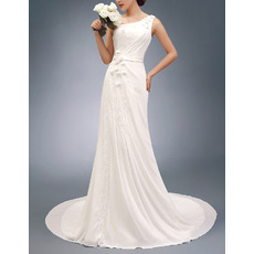 Tailored One Shoulder Sweep Train Lace Appliques Beach Chiffon Summer Wedding Dresses