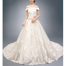 Tailored  A-Line Off-the-shoulder Appliques Court Train Wedding Dresses with Belts