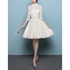 Affordable Mandarin Collar Lace Wedding Dresses with 3/4 Long Sleeves