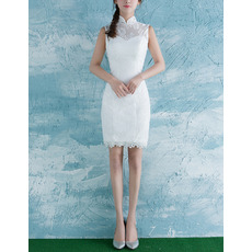 Custom Sheath Mandarin Collar Sleeveless Mini Lace Wedding Dresses