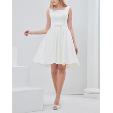 Custom A-Line Square Sleeveless Short Satin Reception Wedding Dresses