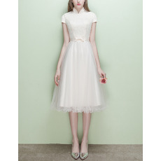 Inexpensive Mandarin Collar Cap Sleeves Short Reception Wedding Dress