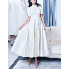 Vintage A-Line Crew Neck Ankle Length Satin Wedding Dresses with Short Sleeves