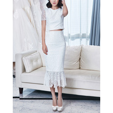 Sheath Tea Length Lace Two-Piece Wedding Dress with Short Sleeves