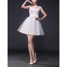 A-Line Sweetheart Mini Short Tulle Wedding Dresses with Slight Cap Sleeves