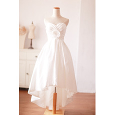 Sweetheart High-Low Taffeta Short Wedding Dresses with Handmade Flowers