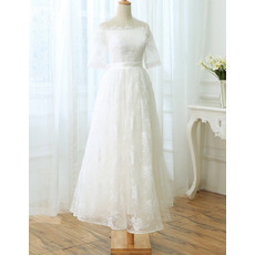 Off-the-shoulder Tea Length Lace Wedding Dresses with Short Sleeves