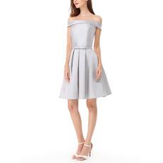 Affordable Off-the-shoulder Short Satin Bridesmaid/ Homecoming Dresses