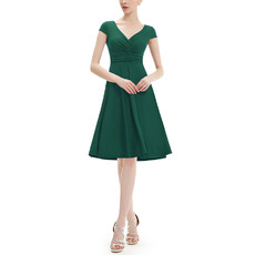 Vintage V-Neck Knee Length Chiffon Bridesmaid Dress with Short Sleeves