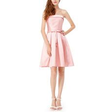Custom Strapless Sleeveless Short Satin Bridesmaid/ Homecoming Dresses