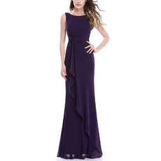 Inexpensive Sheath Sleeveless Long Purple Chiffon Bridesmaid Dresses