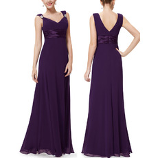 Affordable Elegant V-Neck Empire Full Length Chiffon Bridesmaid Dresses