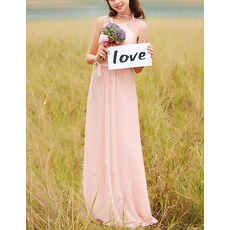 Feminine Jewel Neck Sleeveless Full Length Beaded Chiffon Bridesmaid/ Prom Dresses