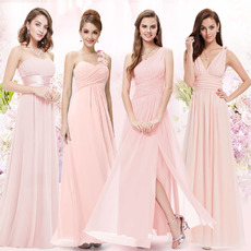 Affordable Elegant Long Length Pleated Chiffon Bridesmaid/ Wedding Party Dresses
