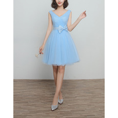 Affordable V-Neck Knee Length Pleated Light Sky Blue Tulle Bridesmaid Dresses with Bowknot