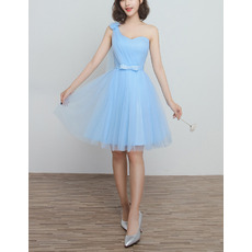 Discount Simple One Shoulder Knee Length Satin Tulle Ruched Bridesmaid Dresses with Bow