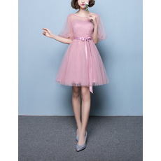 Simple Short Satin Tulle Pleated Bridesmaid Dresses with Short Illusion Sleeves