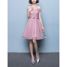 Inexpensive A-Line Off-the-shoulder Short Tulle Pleated Bridesmaid Dresses with Satin Waistband