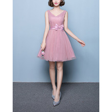 Inexpensive A-Line V-Neck Short Tulle Pleated Bridesmaid Dresses with Satin Bowknot