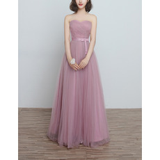 Modest Strapless Sweetheart Full Length Tulle Bridesmaid Dresses with Satin Waistband
