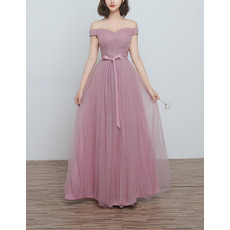 Inexpensive Off-the-shoulder Sweetheart Full Length Ruching Bridesmaid Dresses with Satin Waistband