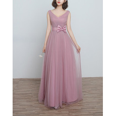 Inexpensive New V-Neck Long Length Satin Tulle Ruched Bridesmaid Dresses with Bowknot