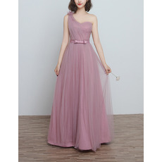Inexpensive One Shoulder Long Length Satin Tulle Pleated Bridesmaid Dresses with Bow