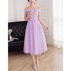 Inexpensive A-Line Off-the-shoulder Tea Length Lace Tulle Bridesmaid Dresses