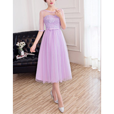 Inexpensive Ultra-feminine Tea Length Lace Tulle Bridesmaid Dresses with Half Sleeves