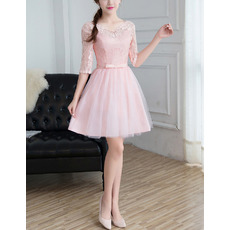 Feminine A-Line V-Neck Mini/ Short Tulle Bridesmaid Dresses with Half Lace Sleeves