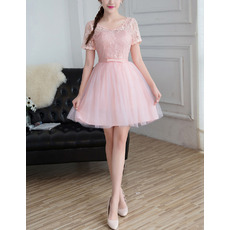 Exquisite Discount Mini/ Short Lace Tulle Bridesmaid Dresses with Short Sleeves