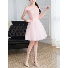 Simple Ultra-feminine Off-the-shoulder Mini/ Short Satin Tulle Lace Bridesmaid Dress