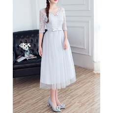 Discount Understated V-Neck Tea Length Lace Tulle Bridesmaid Dresses with Half Sleeves