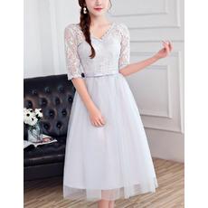 Ultra-feminine Illusion Neckline Tea Length Lace Tulle Bridesmaid Dresses with Half Sleeves