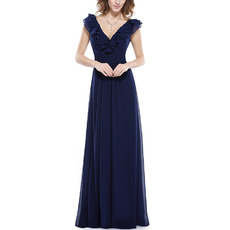 Affordable Double V-Neck Sleeveless Full Length Chiffon Bridesmaid Dresses with Ruffled