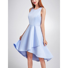 2018 Simple Fashionable Asymmetric High-Low Satin Cocktail Party Dresses with Keyhole Cutout