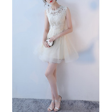 Discount Petite A-Line Illusion Neckline Sleeveless Mini/ Short Tulle Lace Cocktail Party Dresses