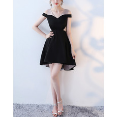 Discount Fashionable Off-the-shoulder Mini/ Short Satin Color Block Cocktail Party Dresses