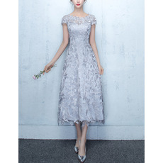 Affordable Elegant Tea Length Lace Cocktail Party Dresses with Short Cap Sleeves