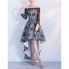 Modern Color Block Off-the-shoulder High-Low Asymmetrical Hem Lace Formal Cocktail Dresses with Long Sleeves