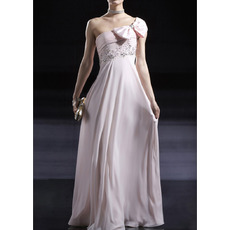 Enchanting Ruched One Shoulder Chiffon Evening/ Prom Dresses with Beading Crystal Detail